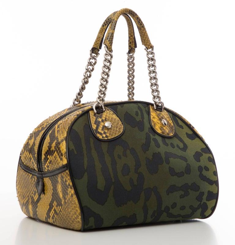 John Galliano Christian Dior Runway Leopard Python Gambler Handbag, Fall 2004 In Excellent Condition For Sale In Cincinnati, OH