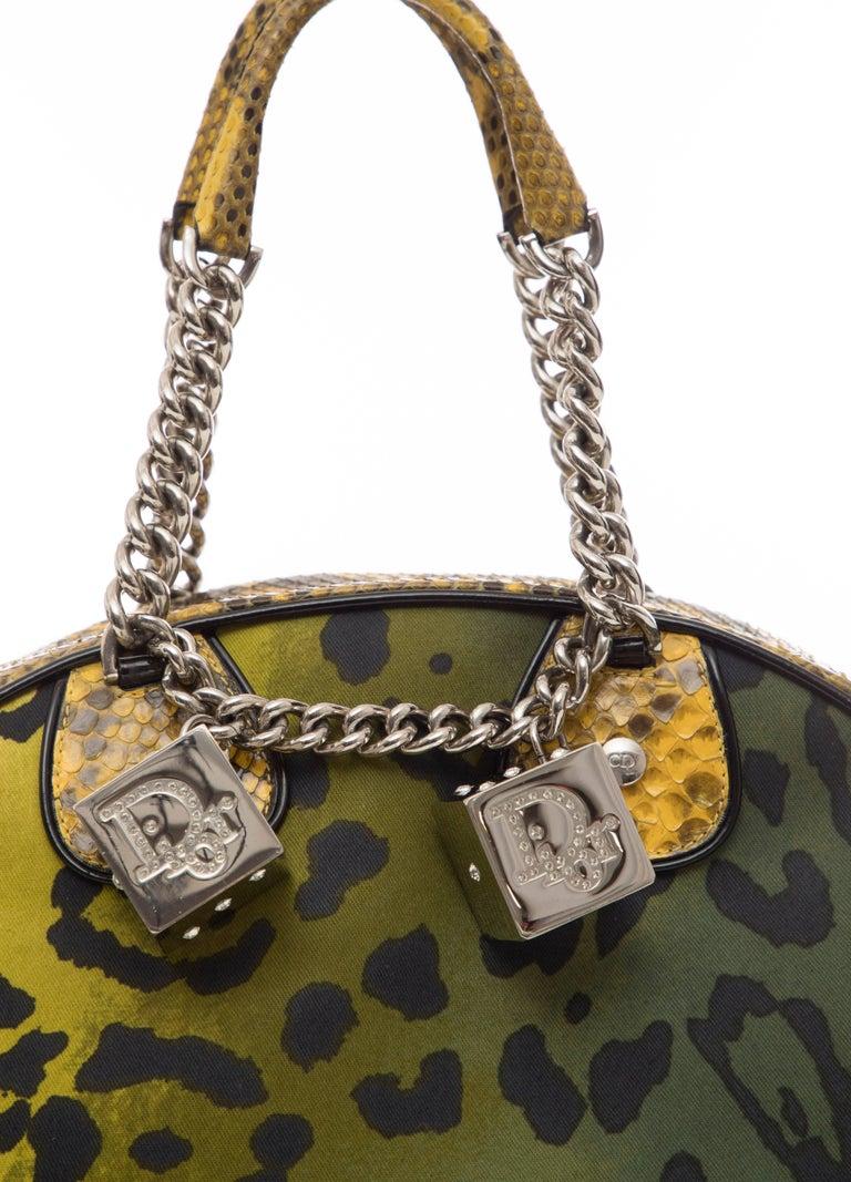Women's John Galliano Christian Dior Runway Leopard Python Gambler Handbag, Fall 2004 For Sale