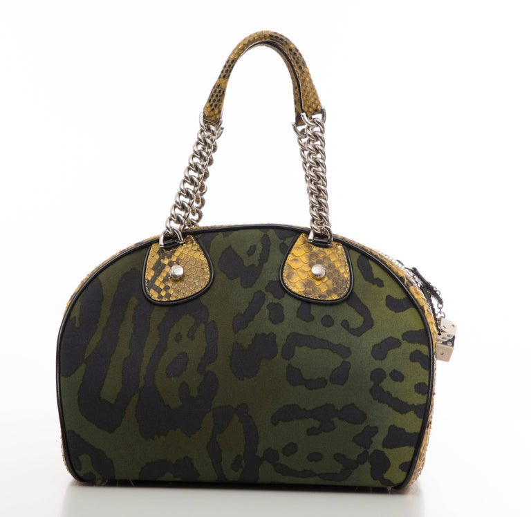 John Galliano Christian Dior Runway Leopard Python Gambler Handbag, Fall 2004 For Sale 1