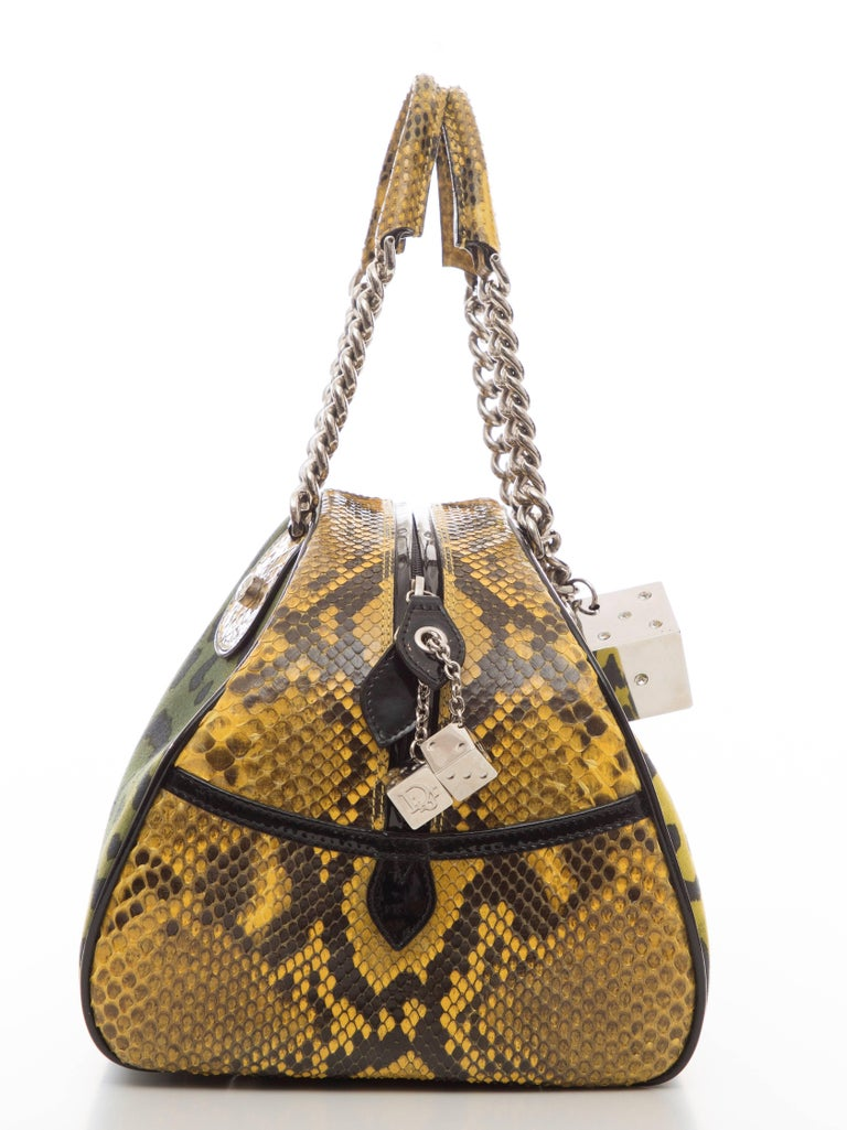 John Galliano Christian Dior Runway Leopard Python Gambler Handbag, Fall 2004 For Sale 2