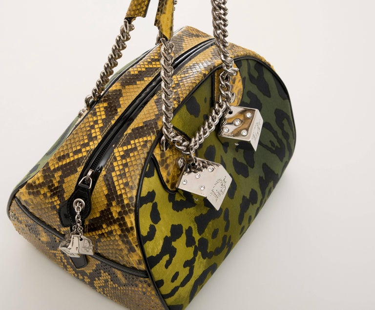 John Galliano Christian Dior Runway Leopard Python Gambler Handbag, Fall 2004 For Sale 3