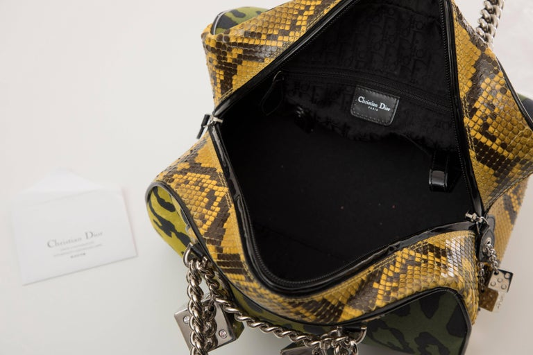 John Galliano Christian Dior Runway Leopard Python Gambler Handbag, Fall 2004 For Sale 5
