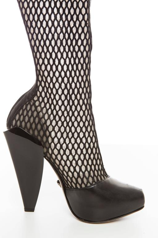Versace Black Woven Mesh Boots, Autumn - Winter 2012 6