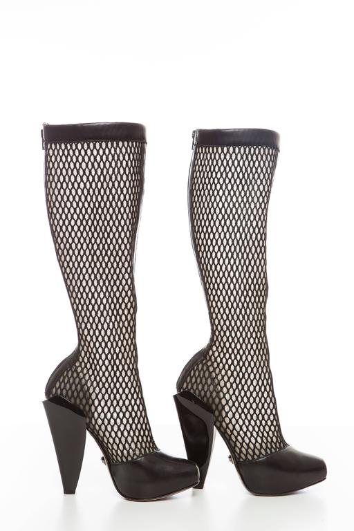 Versace Black Woven Mesh Boots, Autumn - Winter 2012 3