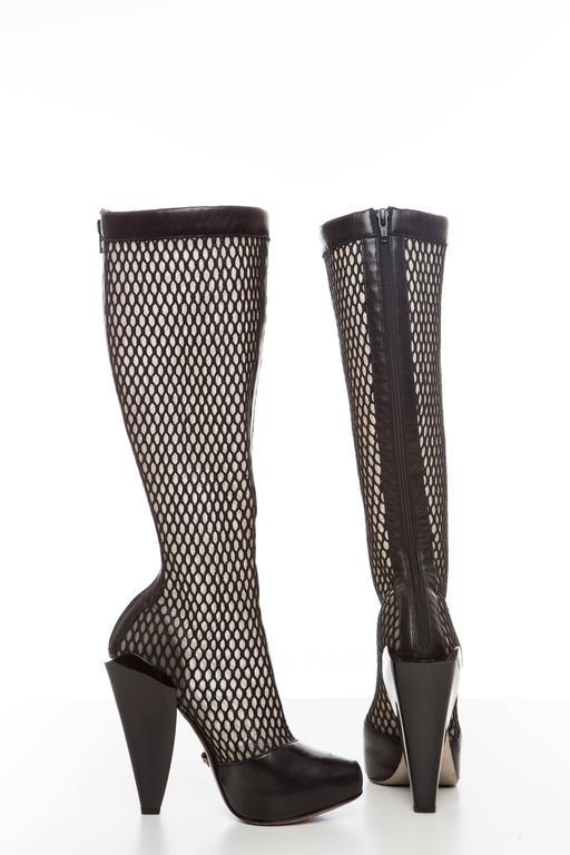 Versace Black Woven Mesh Boots, Autumn - Winter 2012 4