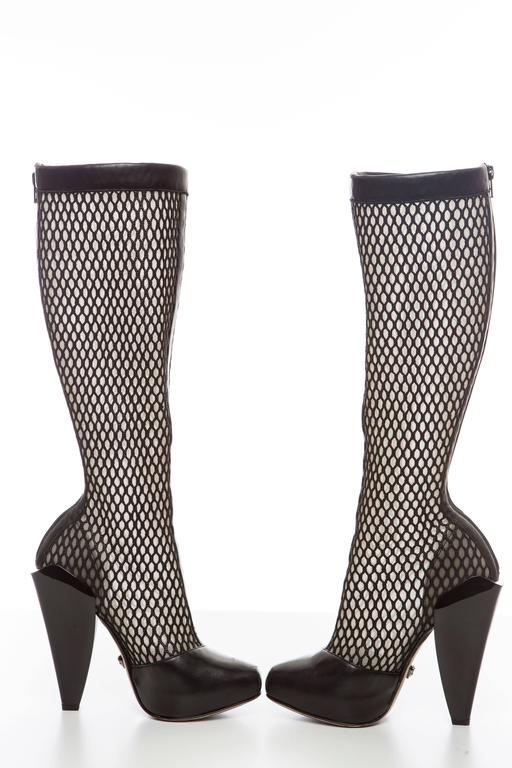 Versace Black Woven Mesh Boots, Autumn - Winter 2012 5