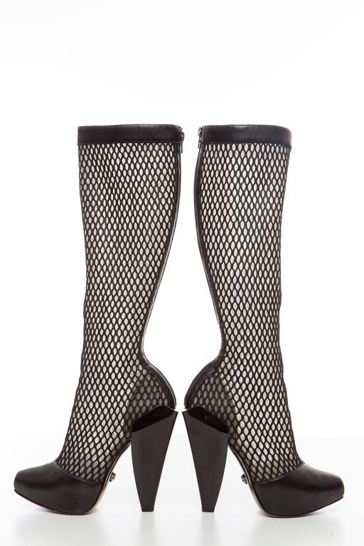 Versace Black Woven Mesh Boots, Autumn - Winter 2012 7