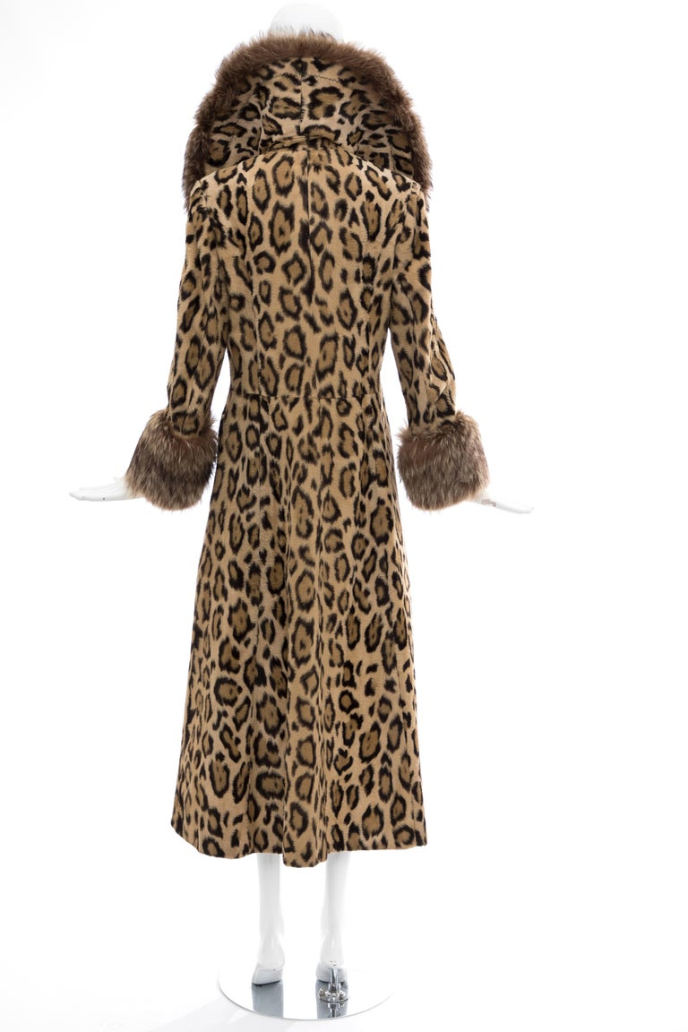Brown Goldring's Couture Faux Leopard Coat Dramatic Fur Collar & Cuffs, Circa: 1970's For Sale