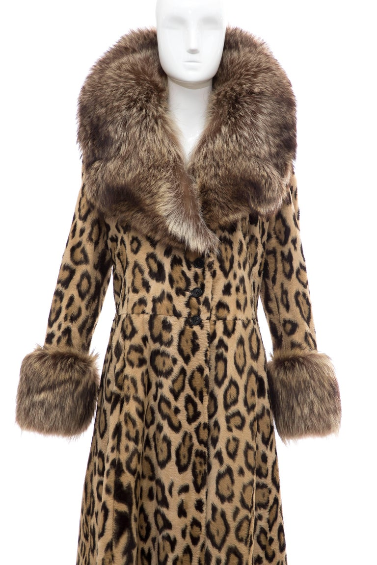 Goldring's Couture Faux Leopard Coat Dramatic Fur Collar & Cuffs, Circa: 1970's For Sale 1