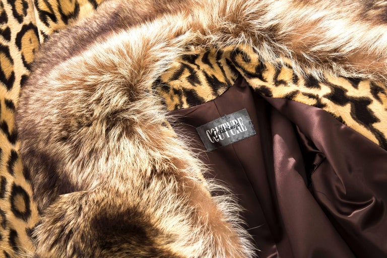 Goldring's Couture Faux Leopard Coat Dramatic Fur Collar & Cuffs, Circa: 1970's For Sale 5