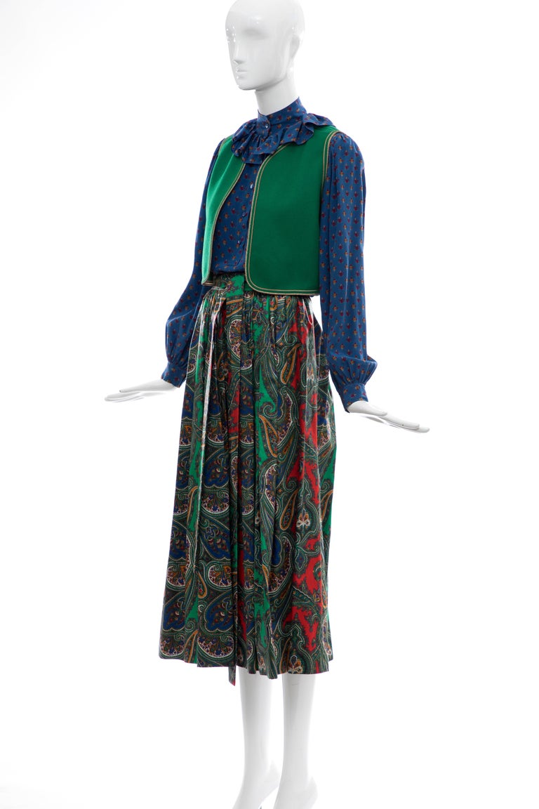 Yves Saint Laurent Rive Gauche Silk Cotton Sateen Wool Skirt Suit, Circa 1970s In Excellent Condition For Sale In Cincinnati, OH