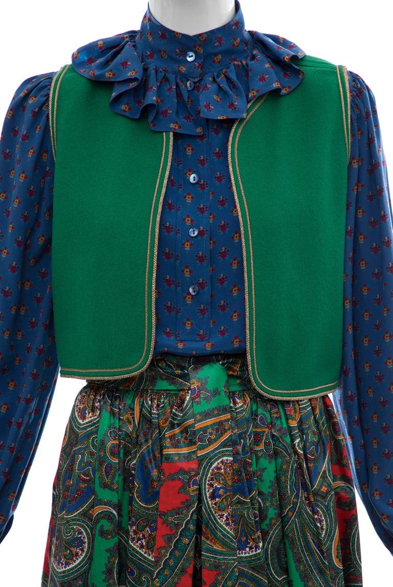 Women's Yves Saint Laurent Rive Gauche Silk Cotton Sateen Wool Skirt Suit, Circa 1970s For Sale