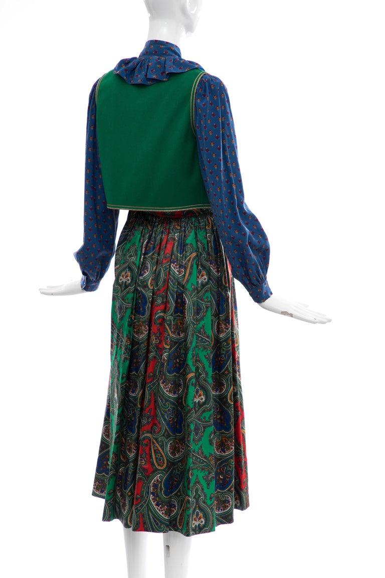 Yves Saint Laurent Rive Gauche Silk Cotton Sateen Wool Skirt Suit, Circa 1970s For Sale 1