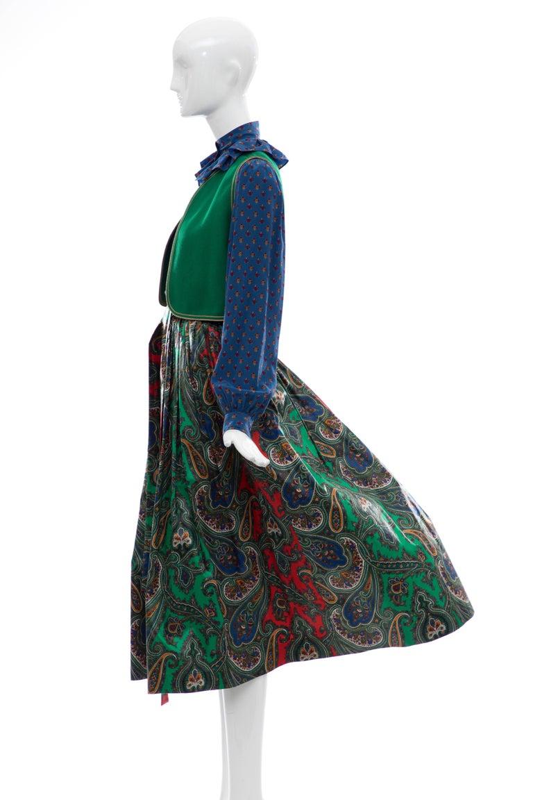 Yves Saint Laurent Rive Gauche Silk Cotton Sateen Wool Skirt Suit, Circa 1970s For Sale 3