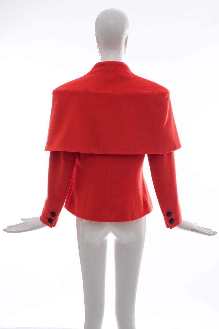 Red Karl Lagerfeld For Chloe Paprika Wool Shawl Collar Jacket, Circa 1980's For Sale