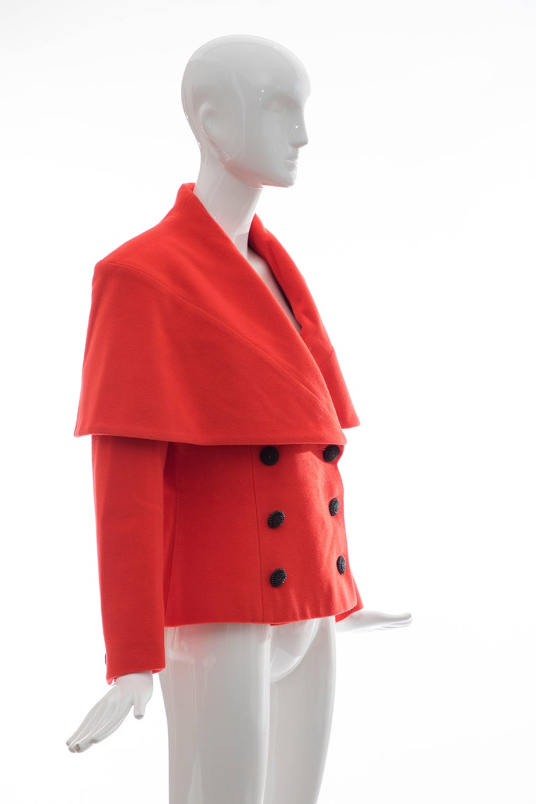 Karl Lagerfeld For Chloe Paprika Wool Shawl Collar Jacket, Circa 1980's In Good Condition For Sale In Cincinnati, OH
