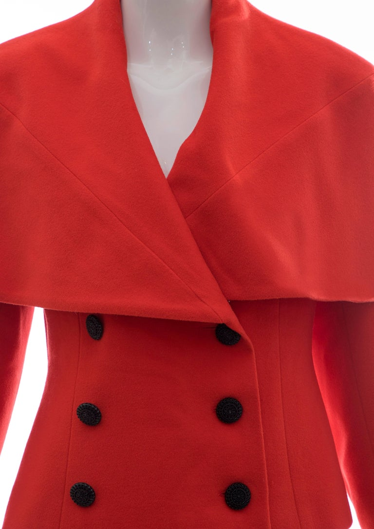 Women's Karl Lagerfeld For Chloe Paprika Wool Shawl Collar Jacket, Circa 1980's For Sale