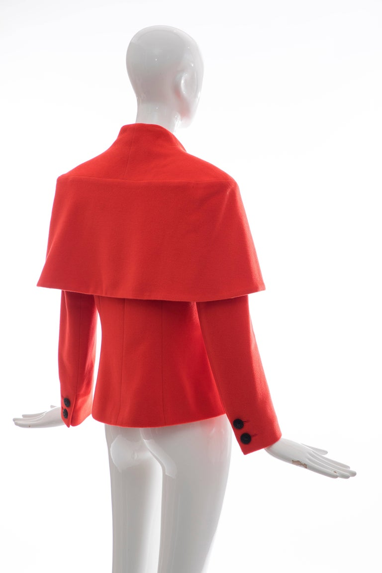 Karl Lagerfeld For Chloe Paprika Wool Shawl Collar Jacket, Circa 1980's For Sale 1