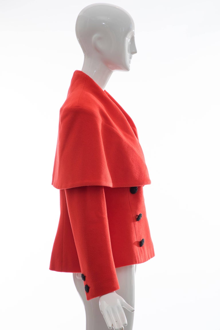 Karl Lagerfeld For Chloe Paprika Wool Shawl Collar Jacket, Circa 1980's For Sale 2