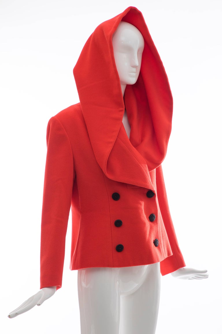 Karl Lagerfeld For Chloe Paprika Wool Shawl Collar Jacket, Circa 1980's For Sale 3