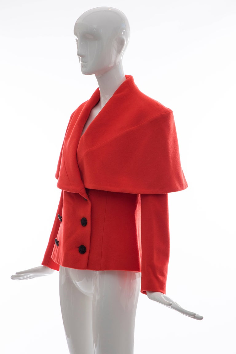 Karl Lagerfeld For Chloe Paprika Wool Shawl Collar Jacket, Circa 1980's For Sale 4