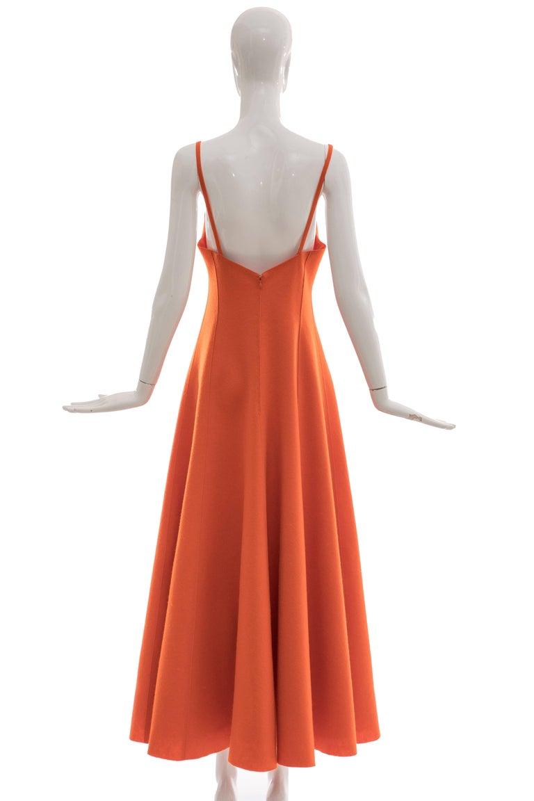 "Ralph Lauren, Autumn-Winter 1999 orange wool felt evening dress,spaghetti straps and back zip.  No Size Label  Bust 33, Waist 28, full through the hip, Length 56"""
