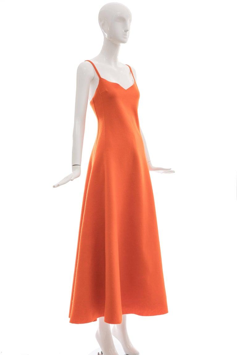 Orange Ralph Lauren Collection Wool Felt Evening Dress, Fall 1999 For Sale