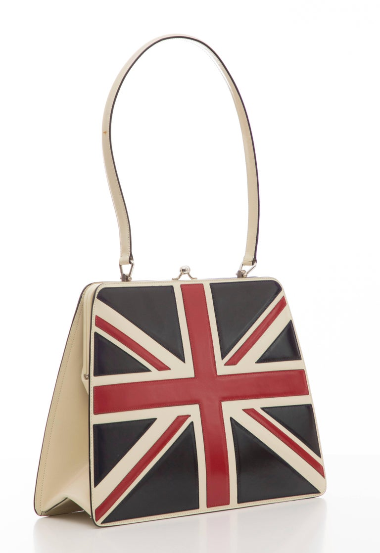 Black Moschino Union Jack Handbag For