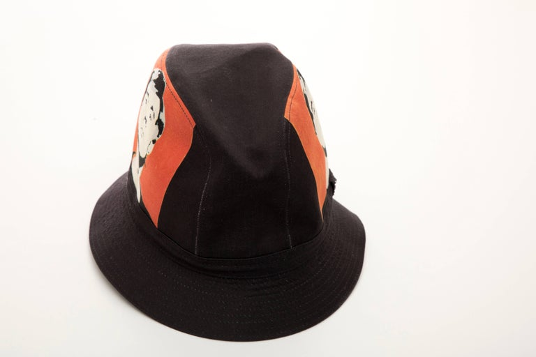 Women's or Men's Philip Treacy Black Woven Printed Cotton Andy Warhol Bucket Hat, Circa 2006 For Sale