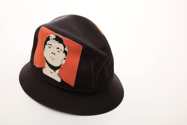Philip Treacy Black Woven Printed Cotton Andy Warhol Bucket Hat, Circa 2006 For Sale 1