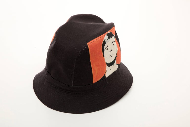 Philip Treacy Black Woven Printed Cotton Andy Warhol Bucket Hat, Circa 2006 For Sale 2