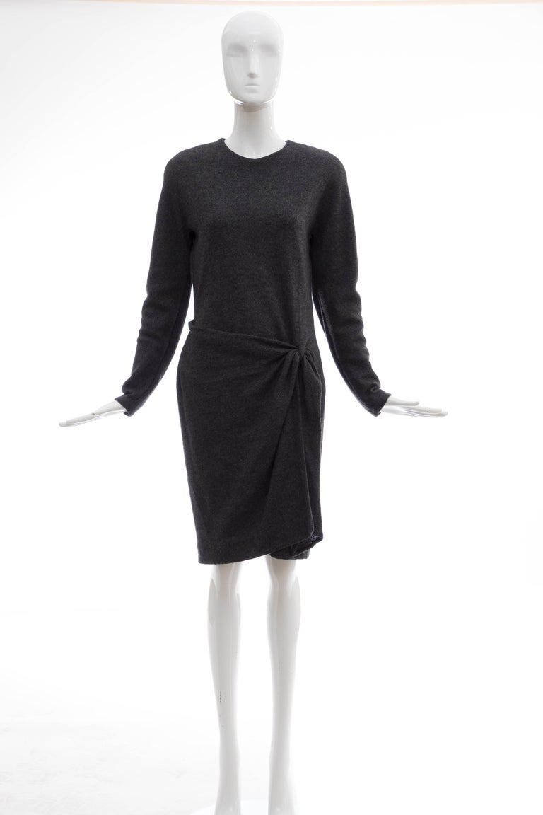 Donna Karan, Circa 1980's Alpaca Wool Crepe Jersey Charcoal Grey long sleeve wrap dress with jewel neckline, back zip and fully lined.  Bust 36, Waist 28, Hips 33, Length 39.5  US. 10 fits a modern size 8