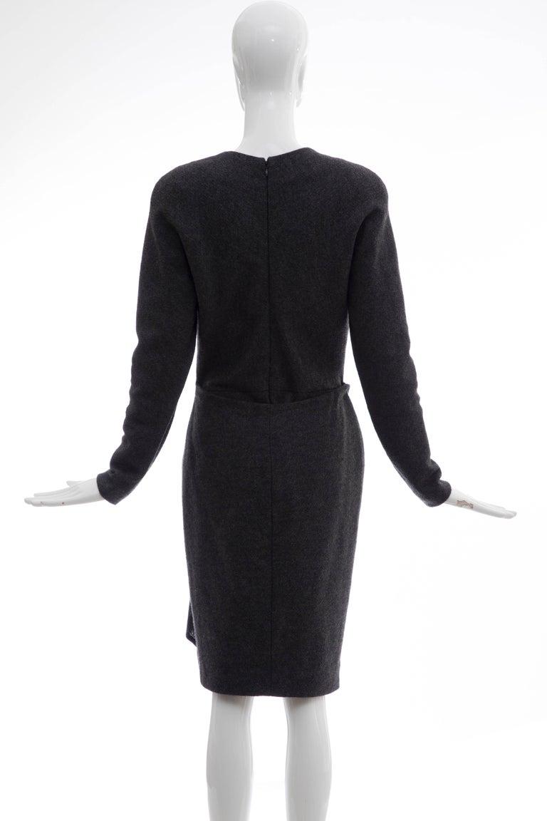 Black Donna Karan Charcoal Grey Alpaca Wool Crepe Jersey Wrap Dress,  Circa 1980's For Sale