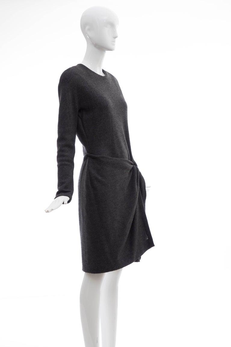 Donna Karan Charcoal Grey Alpaca Wool Crepe Jersey Wrap Dress,  Circa 1980's In Excellent Condition For Sale In Cincinnati, OH