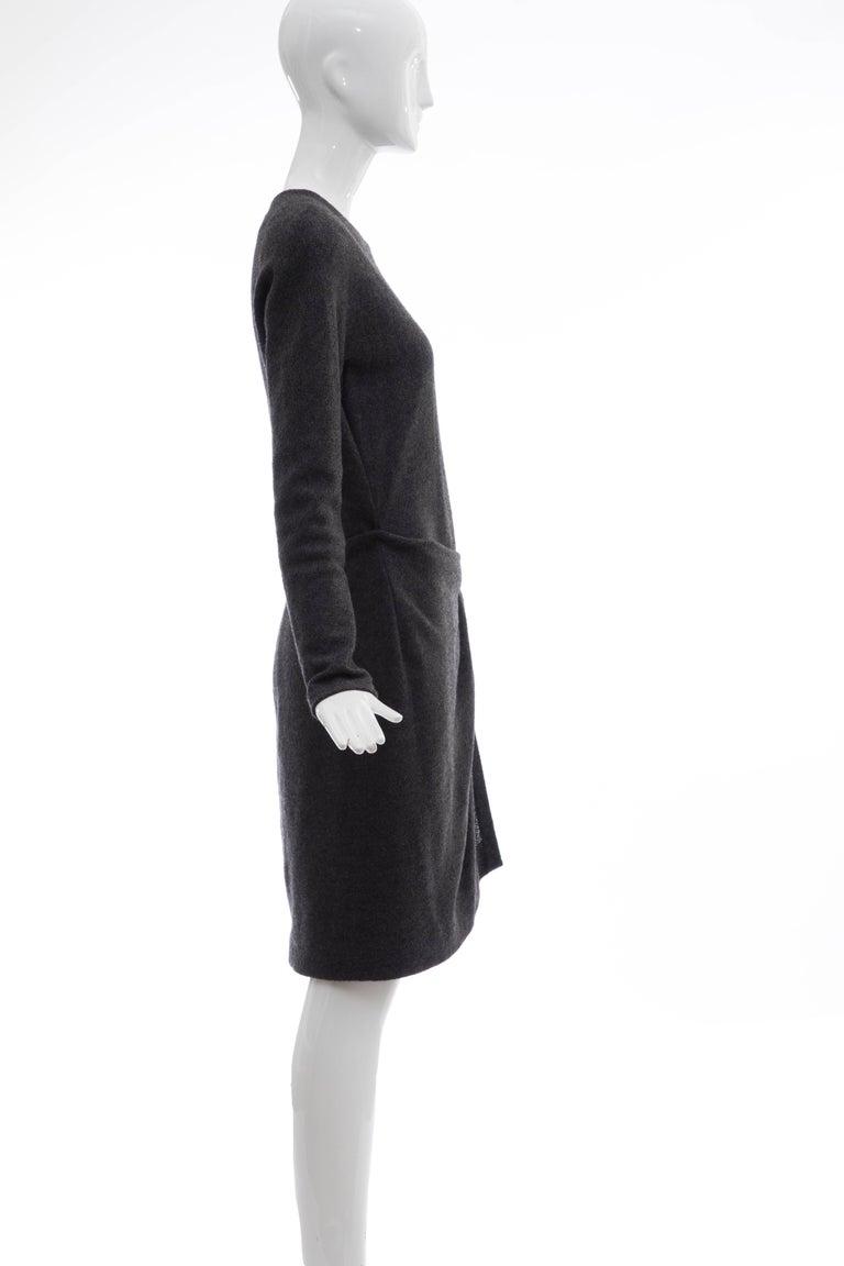 Women's Donna Karan Charcoal Grey Alpaca Wool Crepe Jersey Wrap Dress,  Circa 1980's For Sale