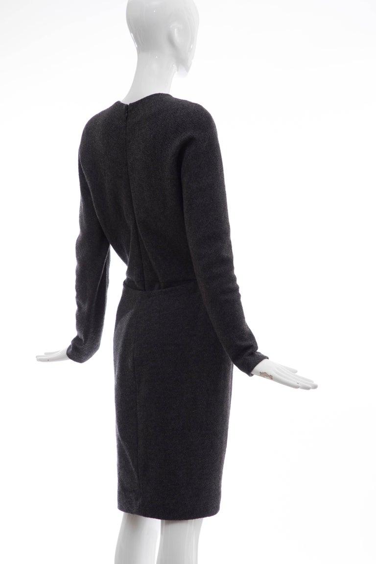 Donna Karan Charcoal Grey Alpaca Wool Crepe Jersey Wrap Dress,  Circa 1980's For Sale 1