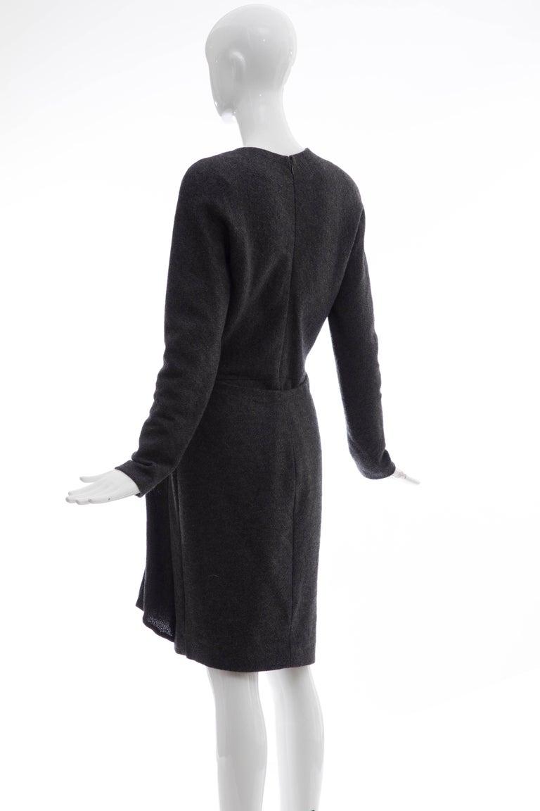 Donna Karan Charcoal Grey Alpaca Wool Crepe Jersey Wrap Dress,  Circa 1980's For Sale 2