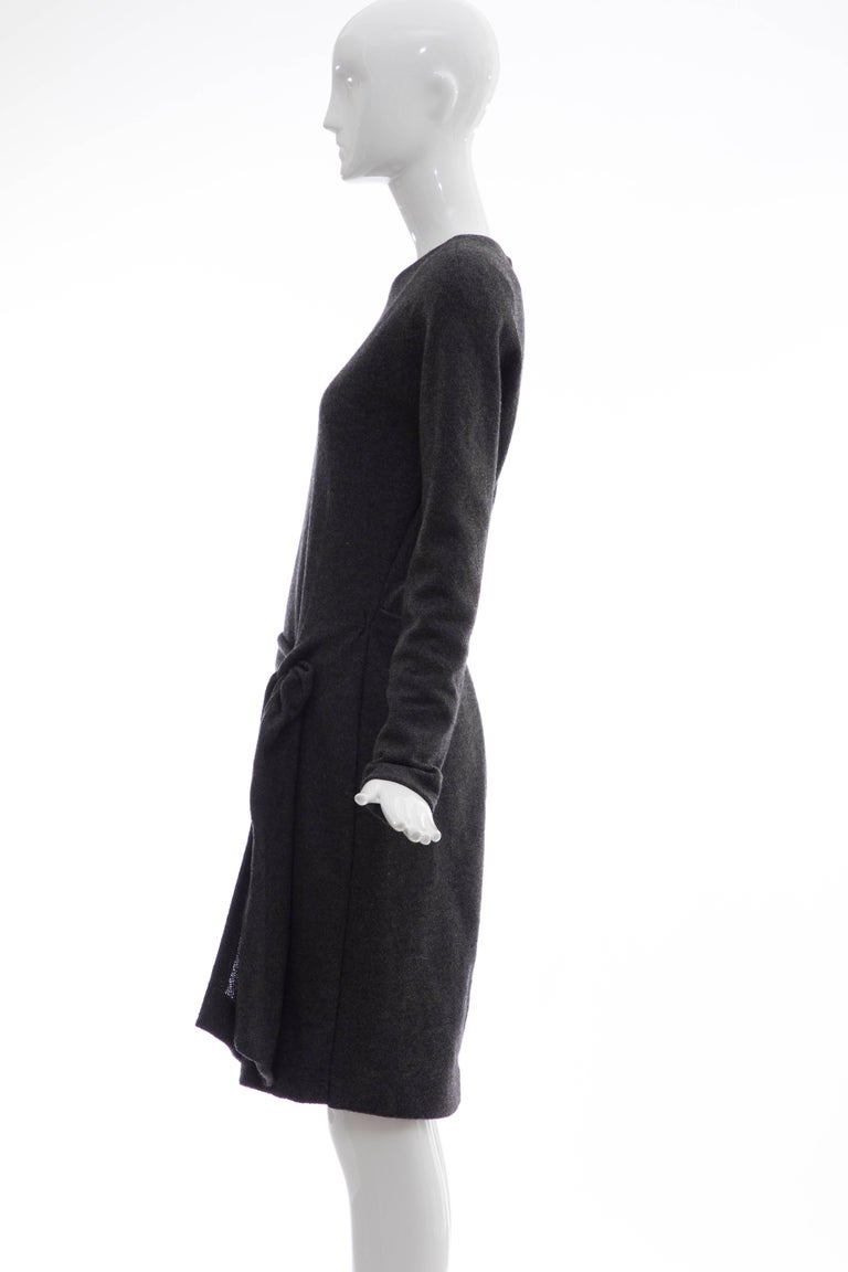 Donna Karan Charcoal Grey Alpaca Wool Crepe Jersey Wrap Dress,  Circa 1980's For Sale 3