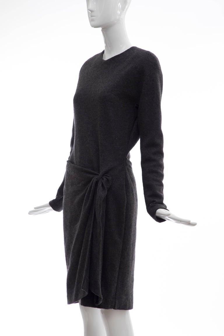 Donna Karan Charcoal Grey Alpaca Wool Crepe Jersey Wrap Dress,  Circa 1980's For Sale 4
