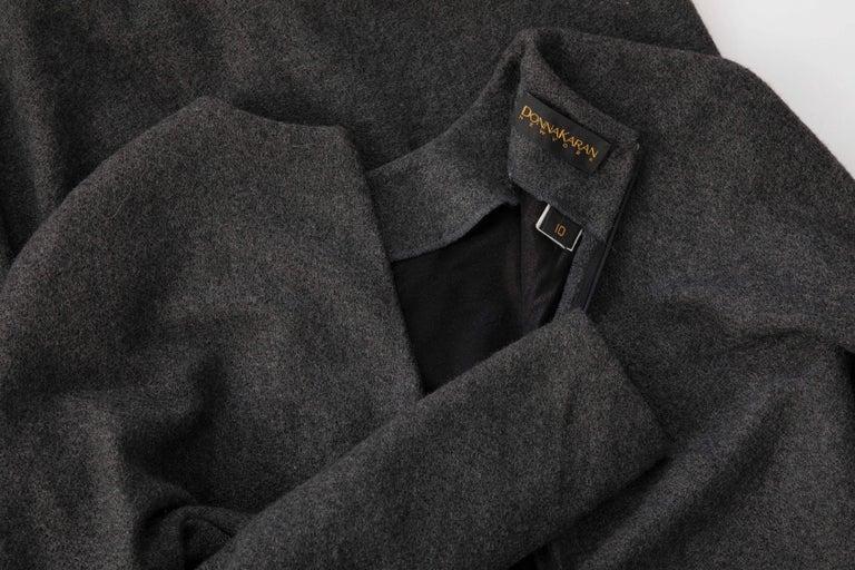 Donna Karan Charcoal Grey Alpaca Wool Crepe Jersey Wrap Dress,  Circa 1980's For Sale 5