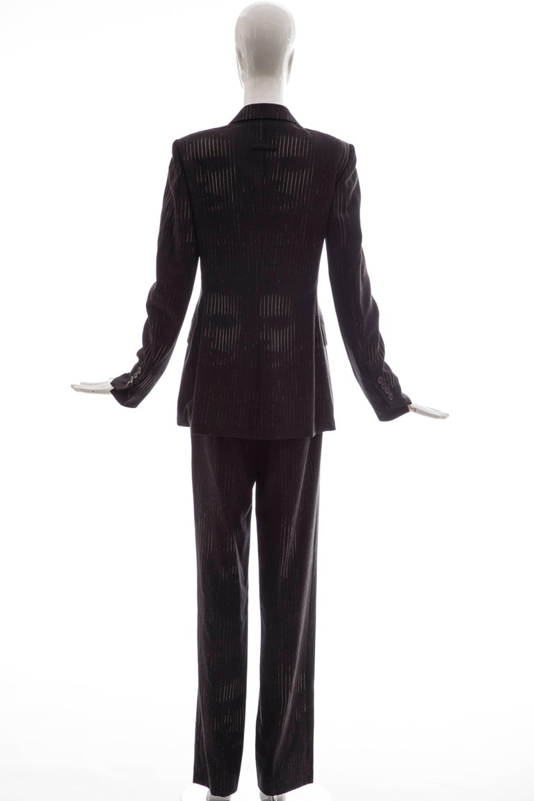 Black Jean Paul Gaultier 3D Printed Faces Wool Grey Pinstripe Pantsuit, Circa 1990's For Sale