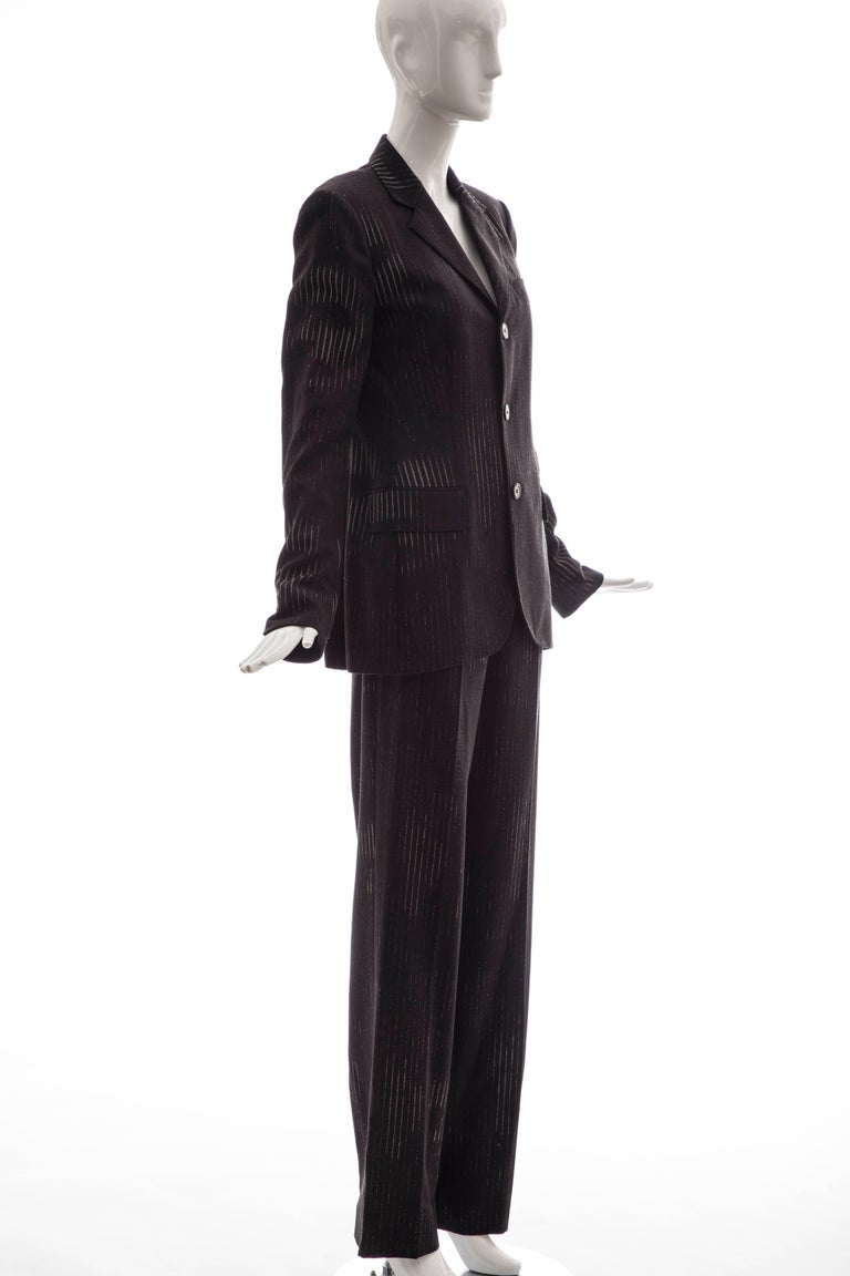 Jean Paul Gaultier 3D Printed Faces Wool Grey Pinstripe Pantsuit, Circa 1990's In Excellent Condition For Sale In Cincinnati, OH