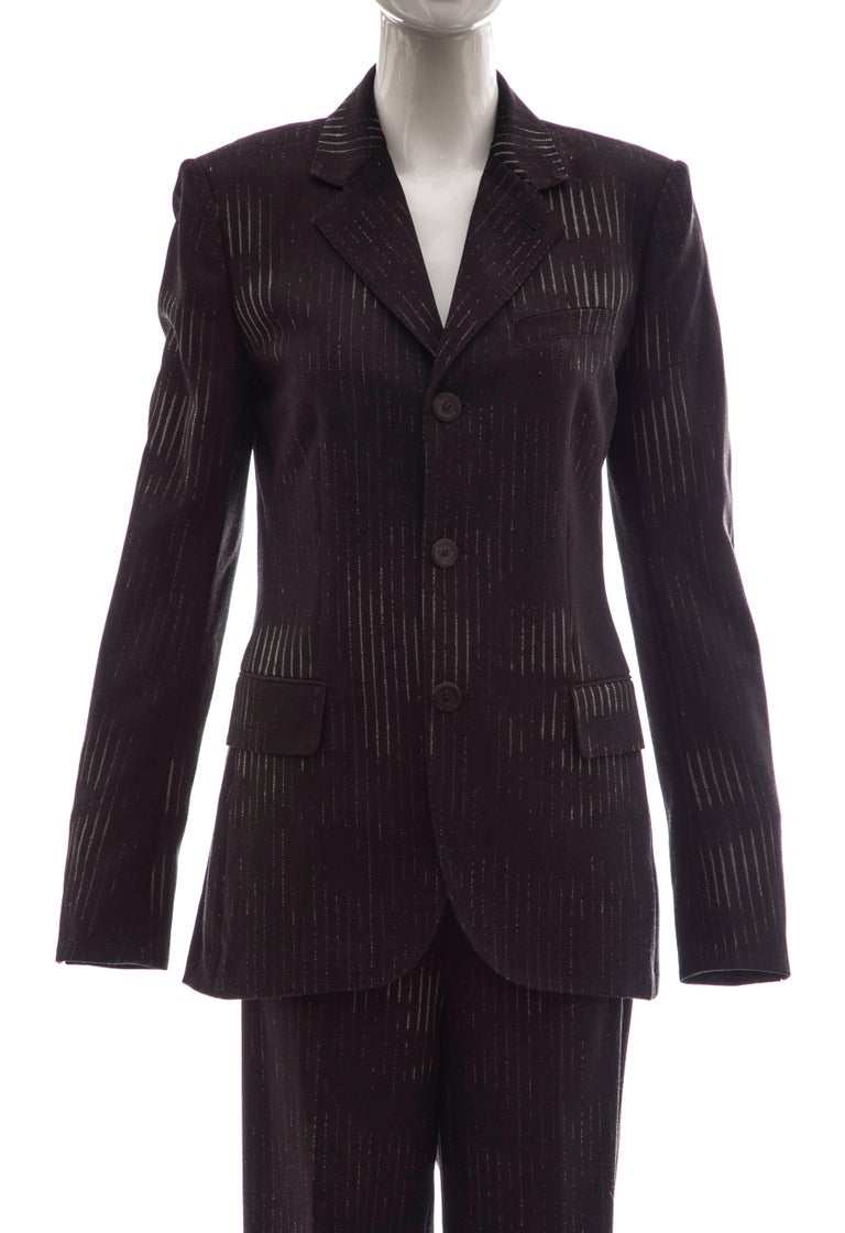Women's Jean Paul Gaultier 3D Printed Faces Wool Grey Pinstripe Pantsuit, Circa 1990's For Sale