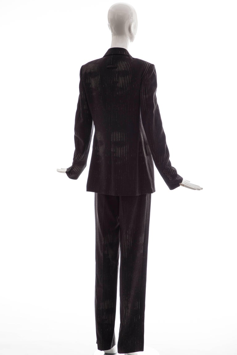 Jean Paul Gaultier 3D Printed Faces Wool Grey Pinstripe Pantsuit, Circa 1990's For Sale 1