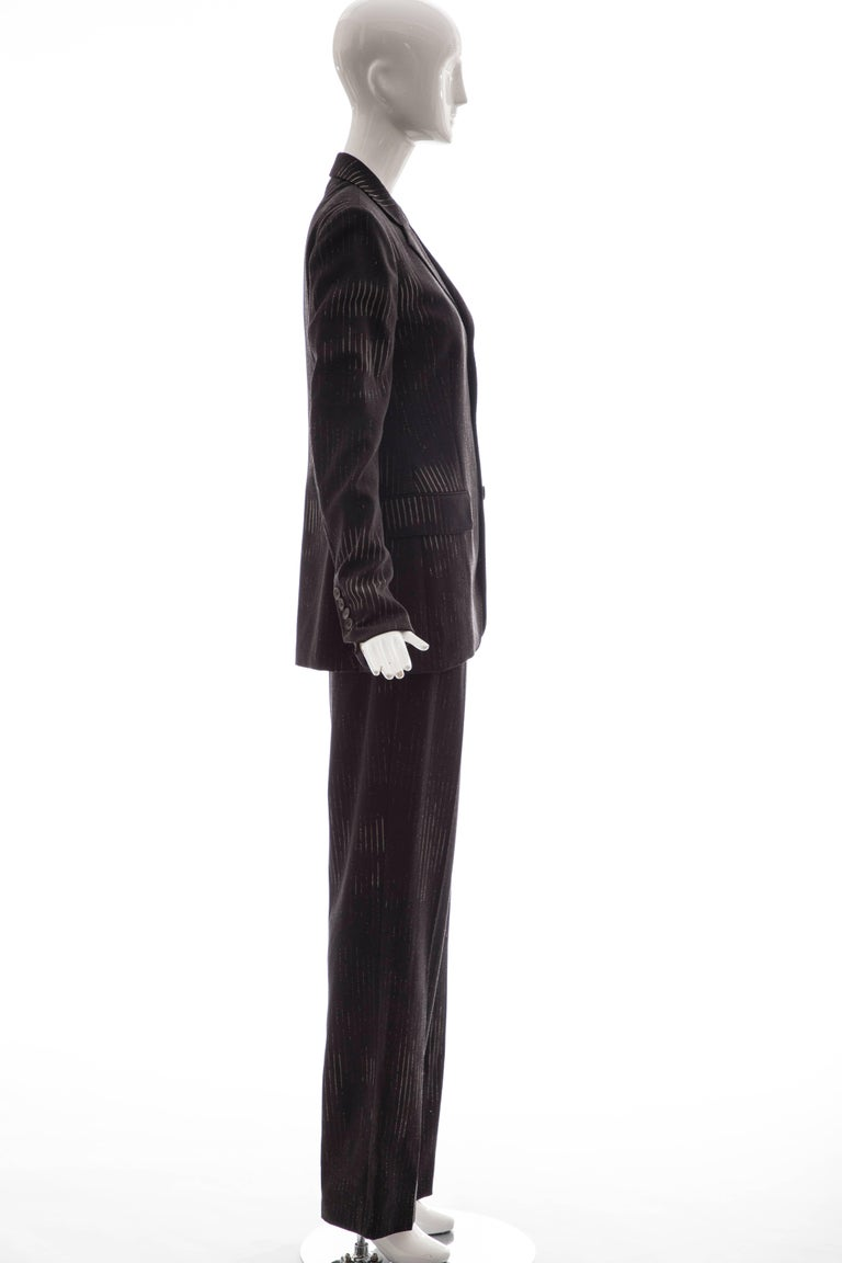 Jean Paul Gaultier 3D Printed Faces Wool Grey Pinstripe Pantsuit, Circa 1990's For Sale 2