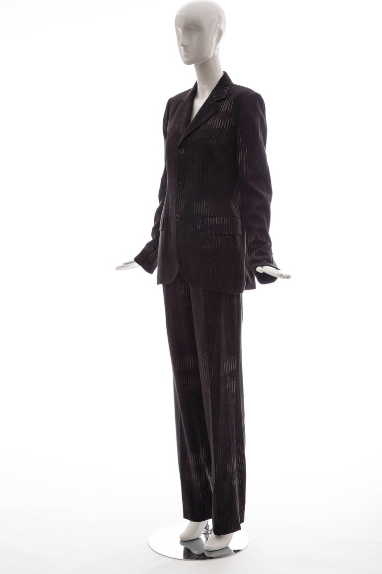 Jean Paul Gaultier 3D Printed Faces Wool Grey Pinstripe Pantsuit, Circa 1990's For Sale 3