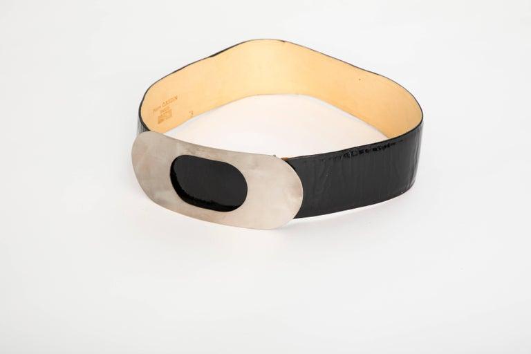 Orange Pierre Cardin Made For Bonwit Teller Black Patent Leather Belt, Circa 1960's For Sale