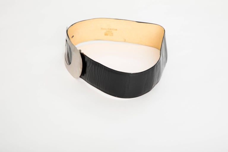 Pierre Cardin Made For Bonwit Teller Black Patent Leather Belt, Circa 1960's In Good Condition For Sale In Cincinnati, OH