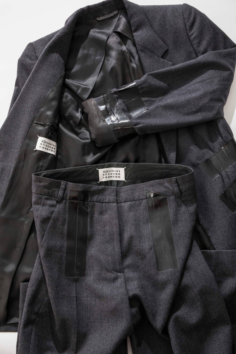 Maison Martin Margiela Artisanal Charcoal Grey Duct Tape Pantsuit, Fall 2009 For Sale 5