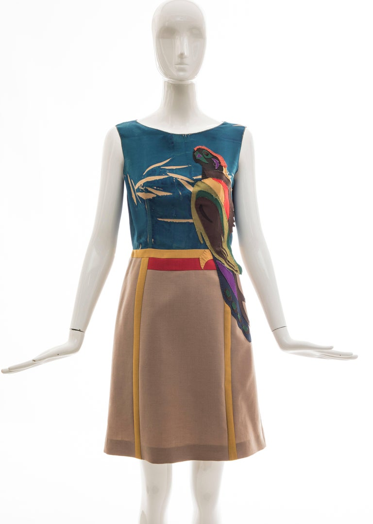Prada, Spring 2005, sleeveless silk dress with applique parrot motif, wool skirt, fully lined and conceal Fabric Content: 100% Silk; Bottom 60% Mohair, 40% Wool; Applications 100% Silk  IT. 42, US. 6 Bust 34, Waist 27, Hips 40, Length36, Shoulder 14